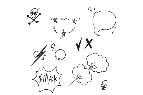 Print on Demand: Doodle Comic Elements Graphic Icons By GwensGraphicstudio