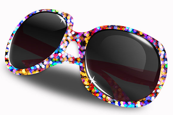 Print on Demand: Eye Glasses Glitter Colorful Frames Lens Graphic Illustrations By Chiplanay