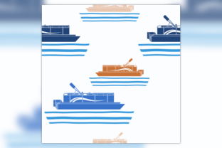 Flat Style Pontoon Boat Seamless Pattern Gráfico Moldes Por faqeeh