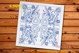Flowers Design Single Flowers & Plants Embroidery Design By Redwork101