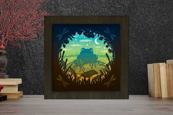 Print on Demand: Frog Light Box Shadow Box Graphic 3D Shadow Box By LightBoxGoodMan