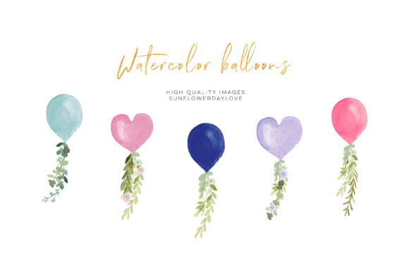 Print on Demand: Heart Balloon Watercolor Clipart Balloon Graphic Illustrations By SunflowerLove