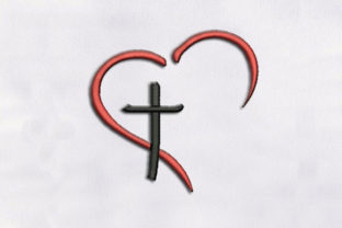 Heart with Cross Shape Religion & Faith Embroidery Design By DigitEMB