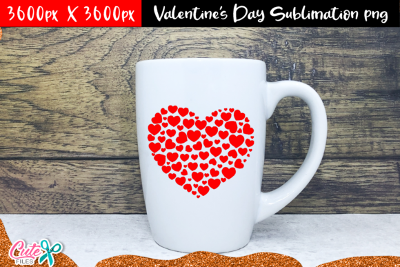 Hearts Valentine's Day Sublimation Graphic Print Templates By Cute files