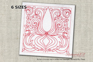 Indian Cultural Pattern Redwork Intricate Cuts Embroidery Design By Redwork101