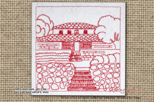Indian House Village Redwork Cities & Villages Embroidery Design By Redwork101