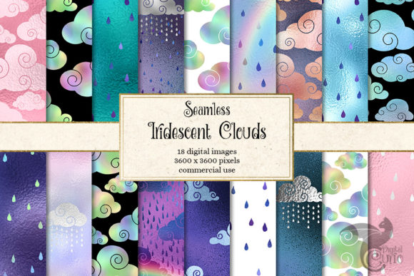 Print on Demand: Iridescent Clouds Digital Paper Graphic Patterns By Digital Curio