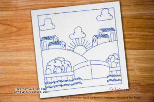 Morning Sunshine Design Cities & Villages Embroidery Design By Redwork101