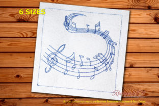 Music Notes Design Music Embroidery Design By Redwork101