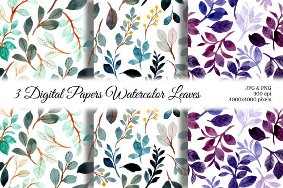 Print on Demand: Seamless Pattern Leaves Watercolor 15 Graphic Backgrounds By asrulaqroni