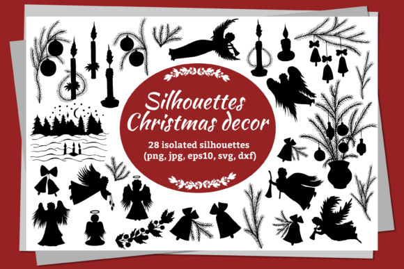 Silhouettes for Christmas and New Year. Gráfico Crafts Por Alena Sas Store