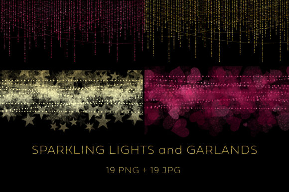 Sparkling Lights and Garlands Graphic Illustrations By Color Studio