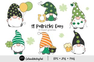 St Patrick's Day Gnomes. Graphic Illustrations By CatAndMe