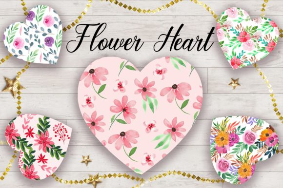 Sublimation Flower Heart Clipart Graphic Backgrounds By PinkPearly