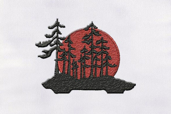 Sunshine Scenery Forest & Trees Embroidery Design By DigitEMB