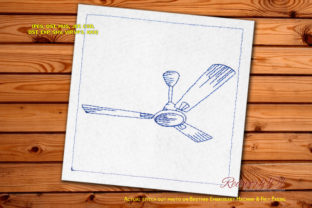 Three Blades Ceiling Fan Redwork House & Home Quotes Embroidery Design By Redwork101