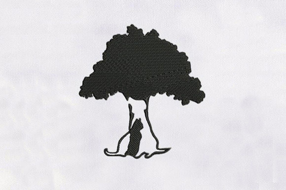 Tree with a Cat Forest & Trees Embroidery Design By DigitEMB