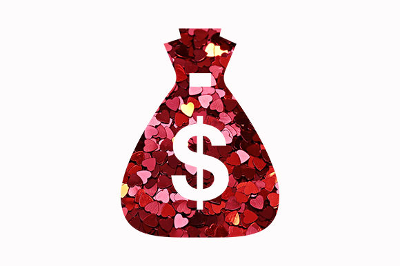 Print on Demand: Valentine Day Hearts Love Money Dollar Graphic Illustrations By Chiplanay