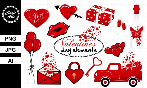 Print on Demand: Valentine's Day Elements Graphic Illustrations By ClazicArts