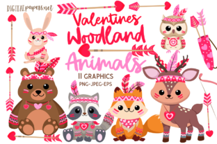 Print on Demand: Valentines Woodland Animals Grafik Illustrationen von DigitalPapers