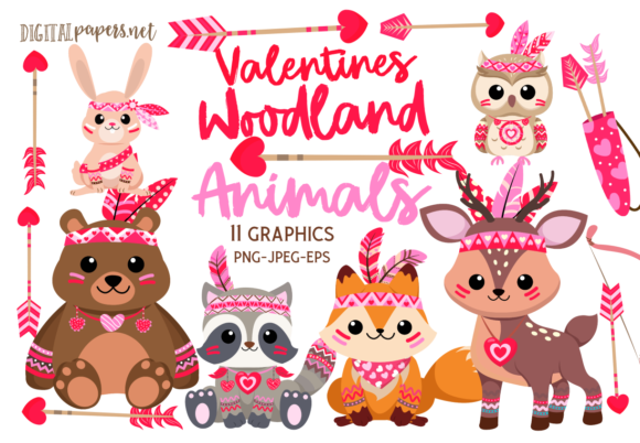 Print on Demand: Valentines Woodland Animals Gráfico Ilustraciones Por DigitalPapers