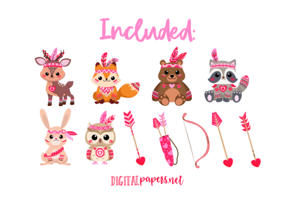 Valentines Woodland Animals Graphic Download