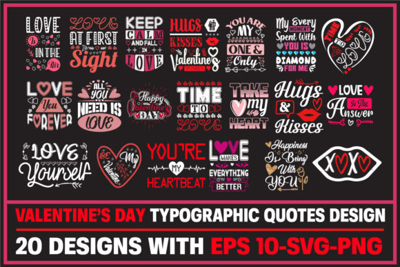 Print on Demand: Valentine's Day Quotes Design Bundle. Grafik Druck-Templates von ajgortee
