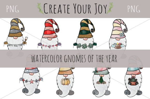 Print on Demand: Watercolor Gnomes of the Year Bundle Graphic Illustrations By Create Your Joy