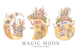 Print on Demand: Watercolor Moon Phase House Clipart Set Graphic Illustrations By Tiana Geo
