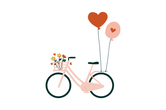 Print on Demand: Wedding Bicycles Flowers Bouquet Basket Graphic Illustrations By Musbila