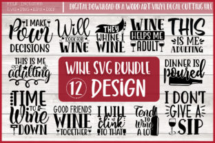 Print on Demand: Wine Quotes Bundle Graphic Crafts By PrintableSvg