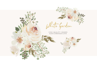 Print on Demand: Winter White Flowers Clipart Cream Ivory Graphic Illustrations By SunflowerLove