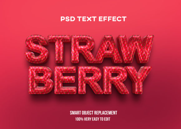 Text Effect Psd - Strawberry Realistic Graphic Product Mockups By Wudel Mbois