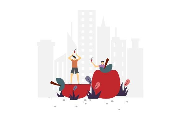 Print on Demand: Apple Lover Flat Illustration Graphic Illustrations By pnajlab