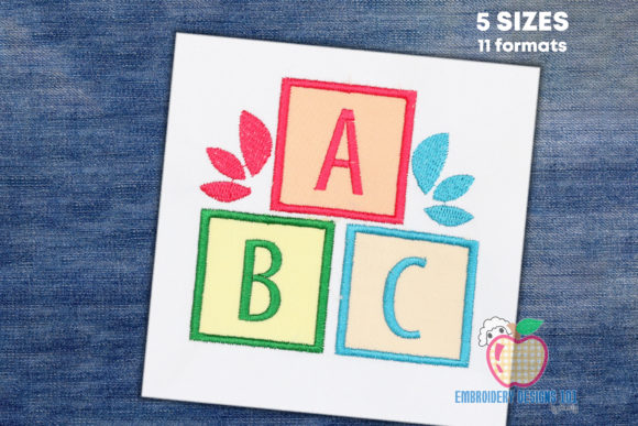 Applique Design of ABC Blocks School & Education Embroidery Design By embroiderydesigns101