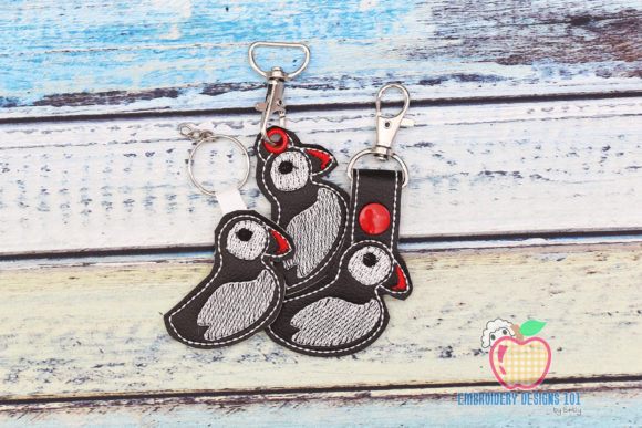Atlantic Puffin ITH Snaptab Keyfob Birds Embroidery Design By embroiderydesigns101