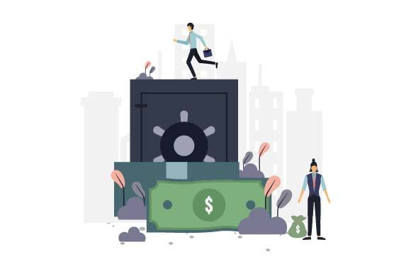 Print on Demand: Bank Flat Illustration Graphic Illustrations By pnajlab