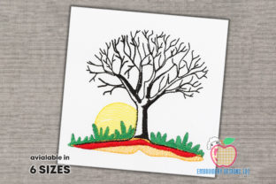 Bare Tree Without Leaves at Sunset Forest & Trees Embroidery Design By embroiderydesigns101