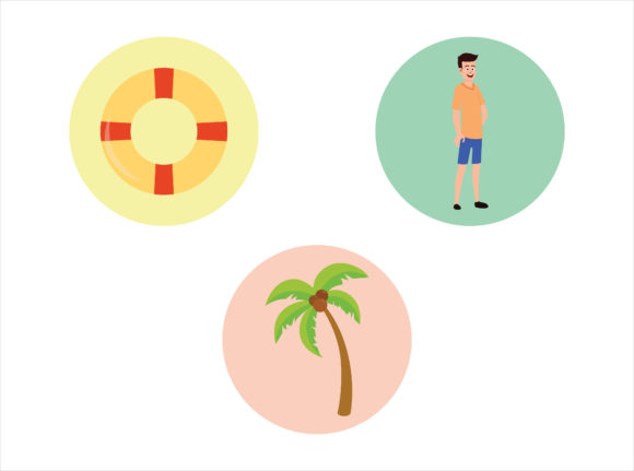 Beach Icon Coconut Tree Vector Bundle Graphic Illustrations By printablesplazza