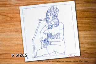Beautiful Passionate Female Singer Music Embroidery Design By Redwork101