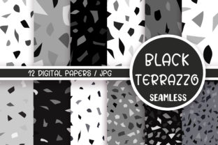 Black Terrazzo Seamless Pattern Graphic Patterns By PinkPearly