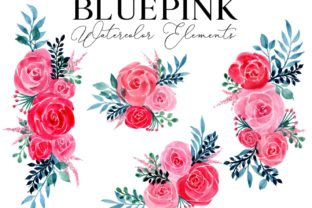 Bluepink Rose Watercolor Element Graphic Web Elements By Monogram Lovers