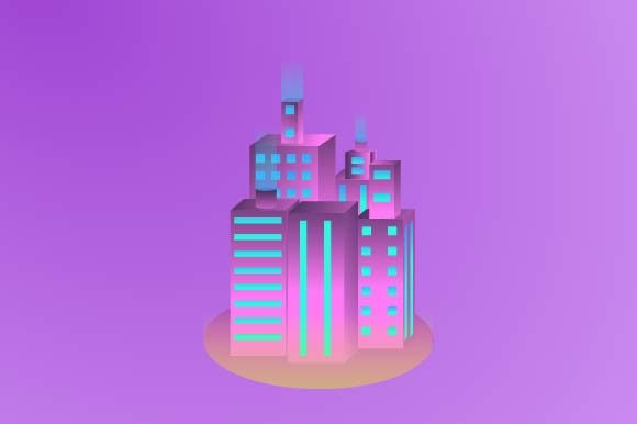 Print on Demand: Building Isometric Illustration Graphic Illustrations By pnajlab