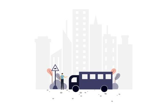 Print on Demand: Bus Stop Flat Illustration Graphic Illustrations By pnajlab