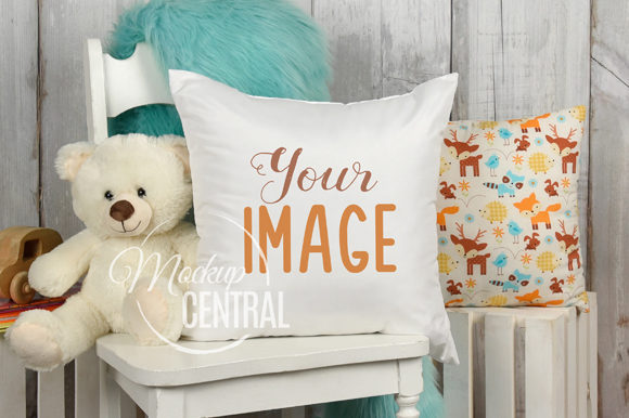Child Baby Nursery Mockup Square Pillow Gráfico Mockups de Productos Por Mockup Central
