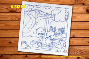 Duck Swimming in River Jungle Scene Forest & Trees Embroidery Design By Redwork101
