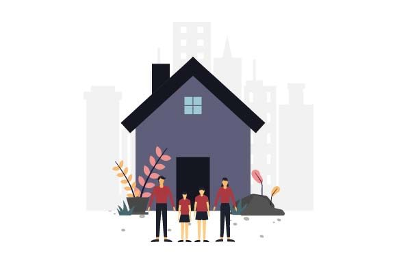 Print on Demand: Family House Flat Illustration Graphic Illustrations By pnajlab