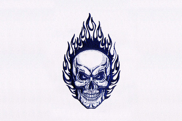 Fire Skull Halloween Embroidery Design By DigitEMB