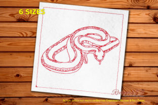 Garter Snake Reptiles Embroidery Design By Redwork101
