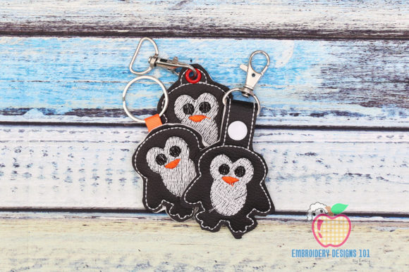 Gentoo Penguin in the Hoop Keyfob Marine Mammals Embroidery Design By embroiderydesigns101